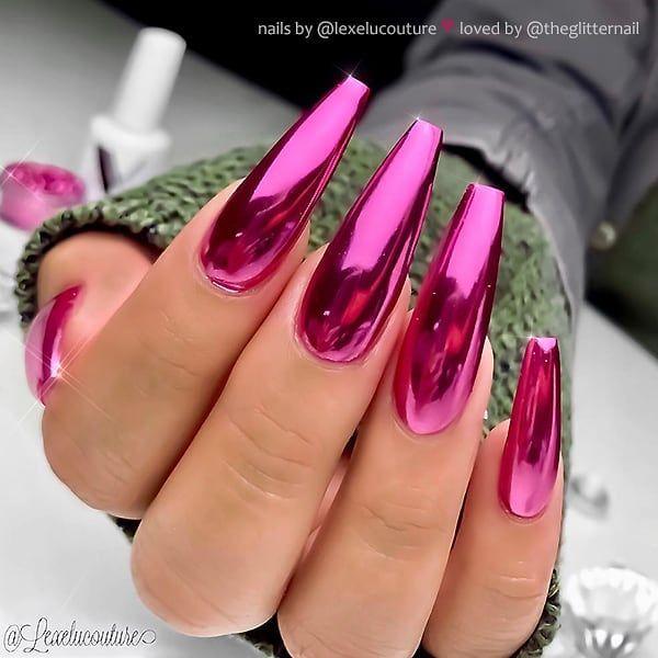 "TheGlitterNail 🎀 Get inspired! on Instagram: ""✨ Pink Chrome on long Coffi…"