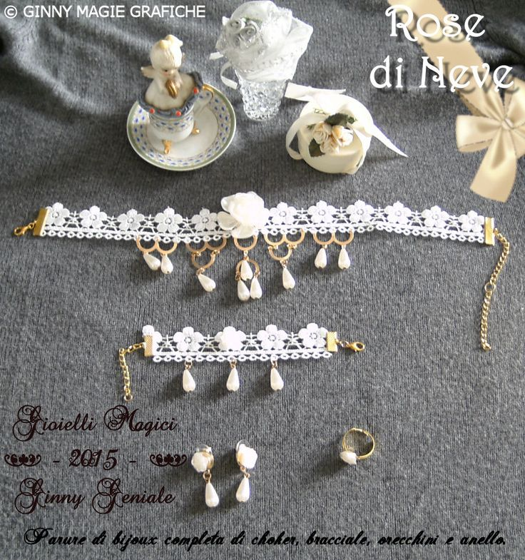 "Parure ""Rose di Neve"" by Ginny Geniale: Choker in merletto e metallo anallergico, con rose e gocce color avorio. Bracciale, orecchini e anello dello stesso stile. Tutti interamente regolabili.  Info: https://sites.google.com/site/collectorseditionart/cataloghi-bijoux-e-gioielli/parure---full-set"