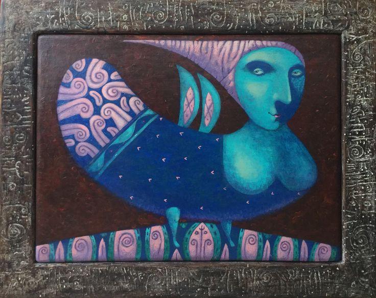 "Pavel Nikolaev, ""Bird Sirin"", 60х80(80х100), oil, wood, 2015."