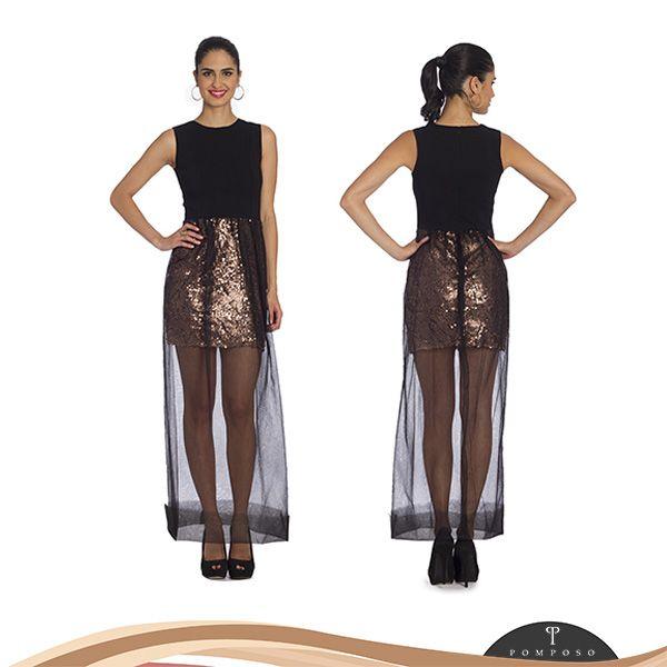 Vestido largo transparente