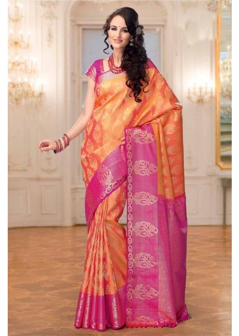 Orange Colour Kanchipuram Silk Saree with Zari Work - SR2589