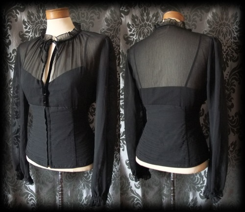 Gothic Black Sheer Hook Up GOVERNESS High Neck Corset Blouse 16 18 Victorian BN - £29.99