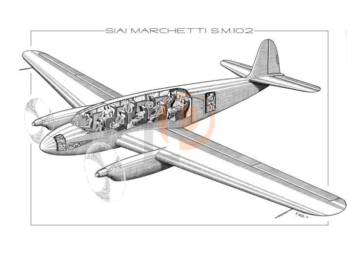 Aeroplano S.I.A.I. Marchetti SM.102-Cod. SM102-70x50 CUTAWAY
