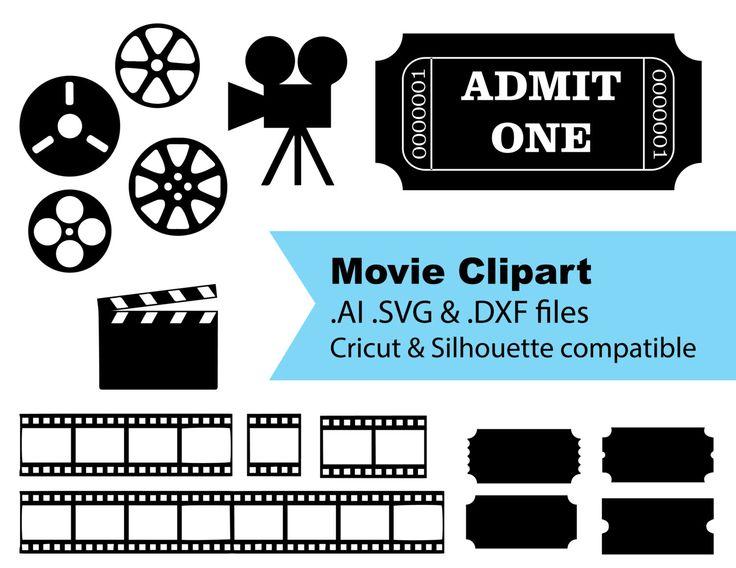 Silhouette & Cricut Compatible Movie Clipart Files AI