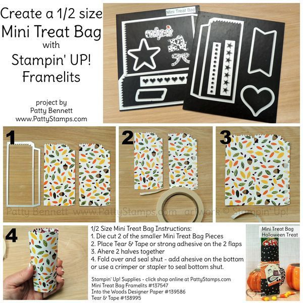 PattyStamps Tutorial: How to make a 1/2 size Mini Treat Bag for Halloween or party favors with the Stampin' UP! Mini Treat Framelit die and your Big Shot - bags online purchase, bag accessories, cloth bags *sponsored https://www.pinterest.com/bags_bag/ https://www.pinterest.com/explore/bag/ https://www.pinterest.com/bags_bag/satchel-bag/ http://www.zara.com/us/en/collection-ss-17/woman/bags-c358019.html