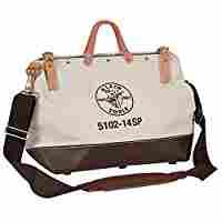 """Klein Tools 5102-14SP Deluxe Canvas Tool Bag, 10 Pockets, 14"""" x 6"""" x 10"""",14-Inch"""