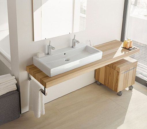 Lately, I've been seeing trough sinks pop up in bathrooms and I love the look so much I'm considering installing one in my own. It's a great alternative to double sinks. This one from the Vero line by Duravit is a beauty (available through Hydrology and Community Home Supply). Ikea carries one, too—the Braviken.