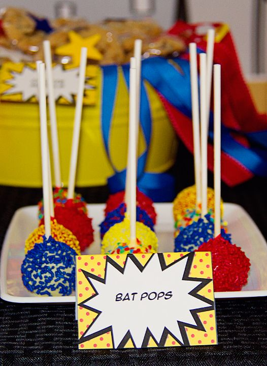 Superhero cake pops.  Would be fun to bake.  No recipe here, just link to a blog.  How cute are these @Jess Pearl Liu Hipp ??