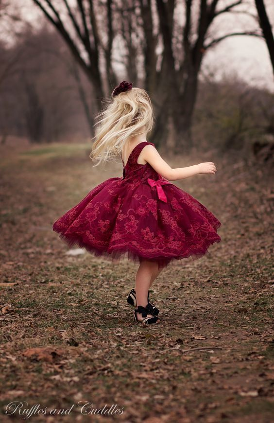 20 Fall Flower Girl Outfits That Are Just Too Cute: #5. Bold red lace dress with black shoes