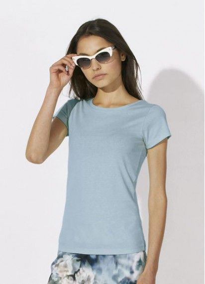 Cloudwatcher fitted and #fairtrade ladies' tee in Sky Blue. Made in Bangladesh from 100% #organiccotton.