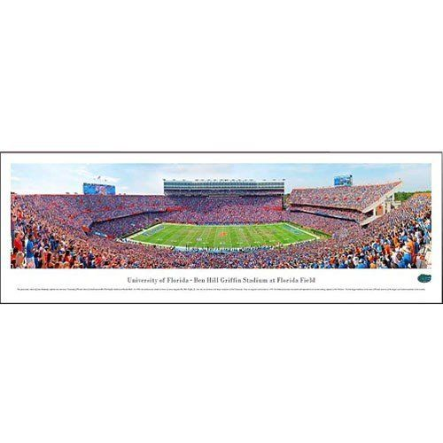 """Florida Gators Ben Hill Griffin Stadium 13.5 '' x 40'' Panoramic Print by Football Fanatics. $29.95. Officially licensed NCAA product. Ready to frame. Approximately 13.5"""" x 40"""". High quality photographic print. Proudly display your Florida football pride with this 13.5"""" x 40"""" aerial photograph of Ben Hill Griffin Stadium at Florida Field! This high quality print features a panoramic view of the stadium during a Gators football game and is the perfect art piece for your ..."""