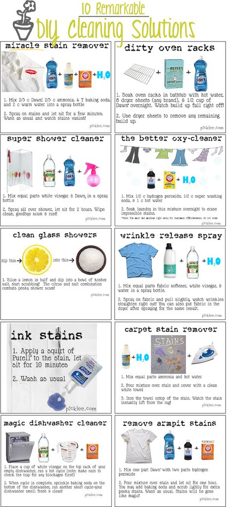 Great cleaning cheat sheet. Homemade wrinkle remover included!