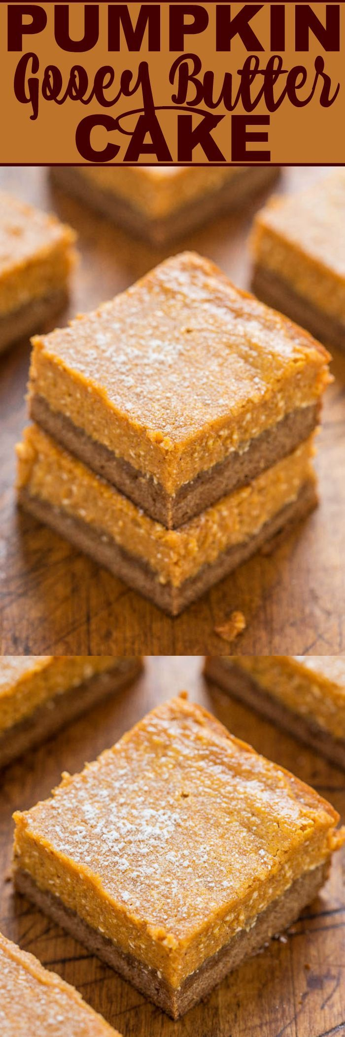 Pumpkin Gooey Butter Cake - Like a gooier, richer version of pumpkin pie with a spice cake crust!! Butter + cream cheese = lives up to its GOOEY name! Make it for Thanksgiving instead of pumpkin pie!!