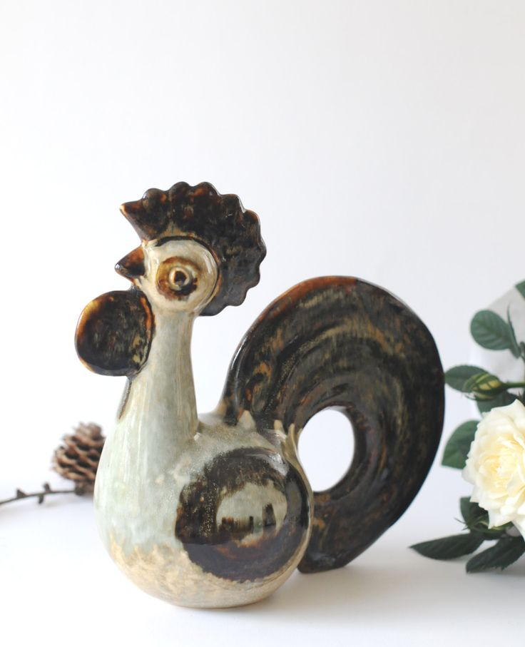JOSEPH SIMON Rooster figurine for Soholm - Studio Pottery - Mid Century modern. Bornholm, Danish Pottery by FridasVintage on Etsy