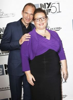 Joanna Scanlan and Ralph Fiennes pose together at the Gala Tribute to Ralph Fiennes in NYC.