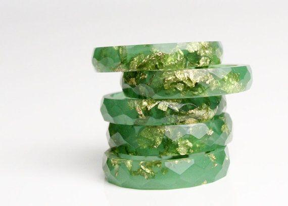 jade green with gold leaf size 7.5 thin van RosellaResin op Etsy, $50.00