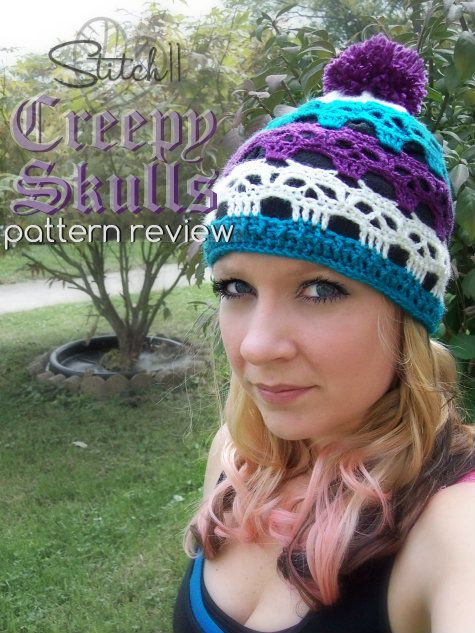 Crochet Skull Hat Pattern - review on Stitch11, design by Spider Mambo!