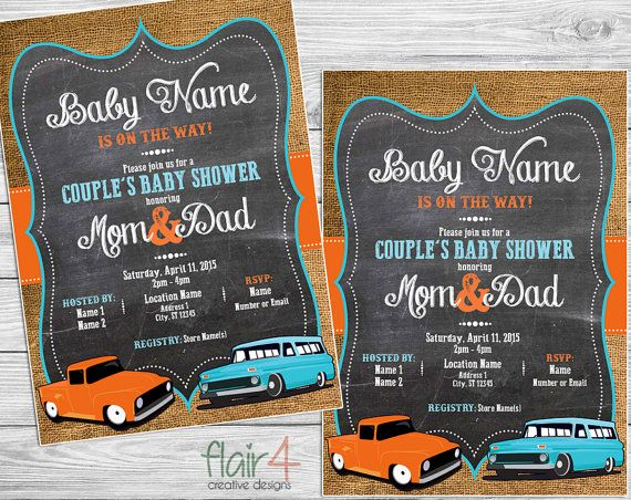 Vintage Car  Baby Shower Invitation  Digital File 5x7 by FlairFour