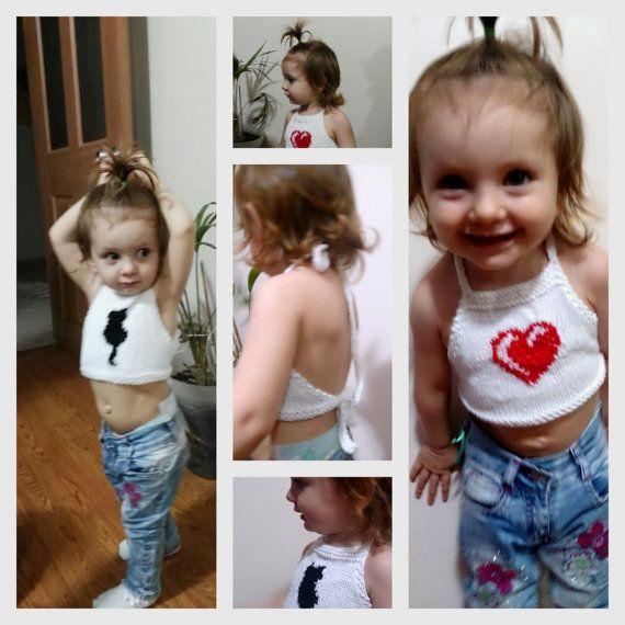 Knit halter top onepiece toddler halter top by ATLASKNITSHOP