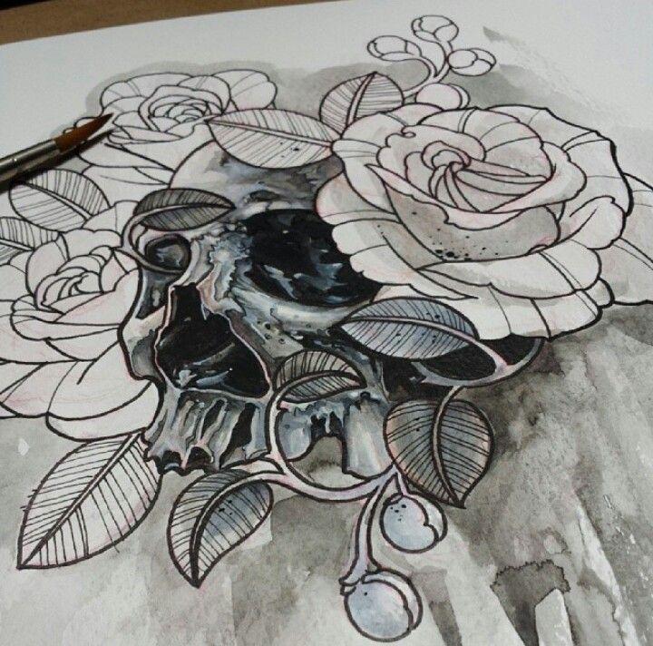 #skull #roses #drawing #tattoo #beautiful | Tattoo Props ...