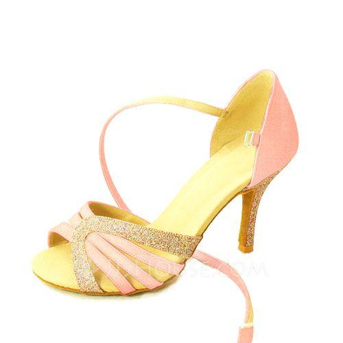 Vrouwen Satijn Sprankelende Glitter Hakken Pumps Latijn met Enkelriempje Dansschoenen (053060964) - JJsHouse