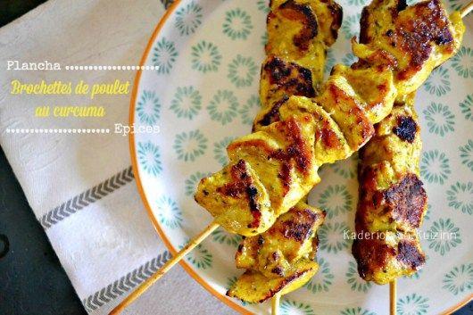 Plancha poulet - Brochettes de poulet mariné au curcuma