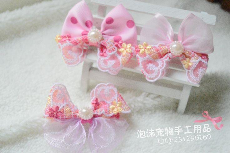 Оригинальные ручной головной убор шпилька домашних кошек мелких животных розовые аксессуары для волос шпильки кружева мини-серии категорию - Taobao