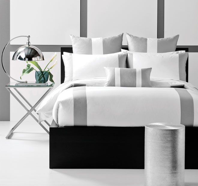 Linen House Boutique Mercer Quilt Cover Set Range Silver and White