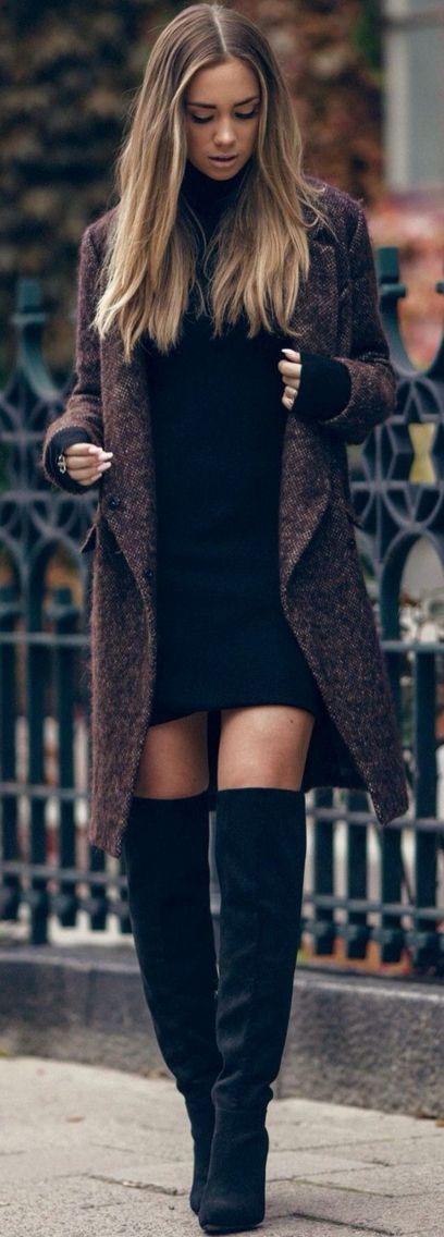Black Thigh High Overknee Street Style Inspo