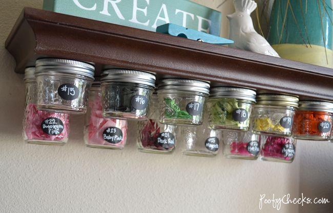 under shelf storage http://www.poofycheeks.com/2012/08/mason-jar-storage-shelf-tutorial.html