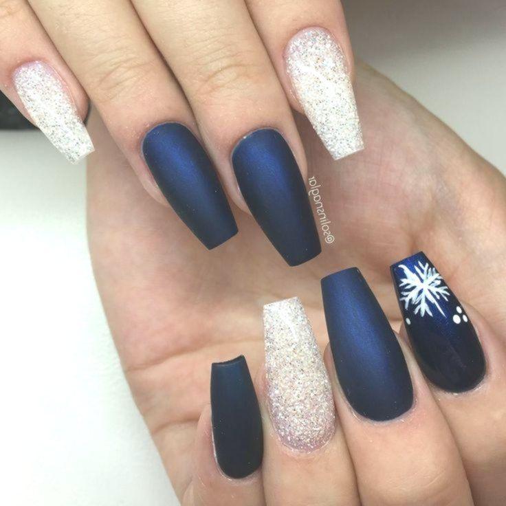 Matte Midnight Blue + Diamond Glitter + Snowflakes Long