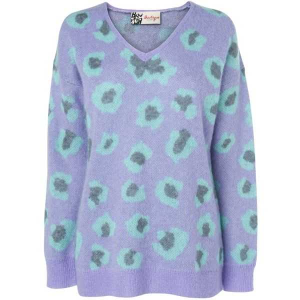 Boutique by Jaeger Mohair Leopard Jumper, Purple ($93) ❤ liked on Polyvore featuring tops, sweaters, blusas, jumper, vneck sweater, purple jumper, animal print sweater, v-neck tops and long sleeve sweaters