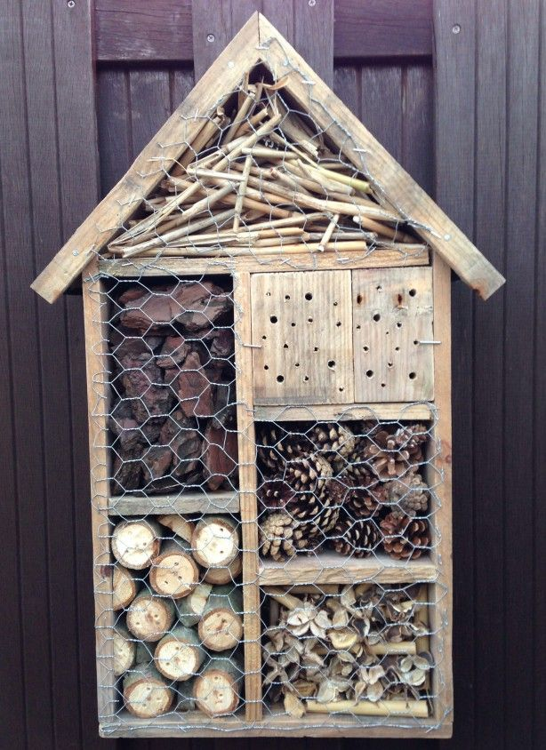Nu maar hopen dat de insecten in dit hotel komen verblijven! Gemaakt van oude pallets!