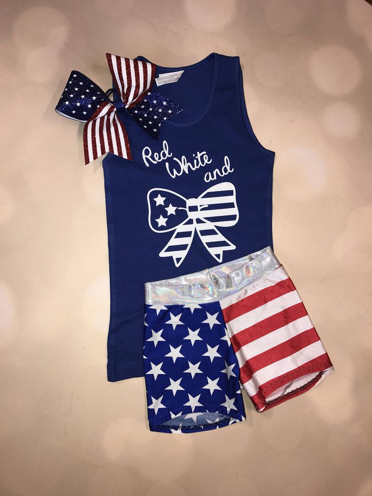 Bow Tank Top with optional add on Flag Cheer Bow and Flag Shorts / American Flag Outfit / 'Merica / USA Shorts / Stars and Stripes Shorts by AMPtActivewear on Etsy