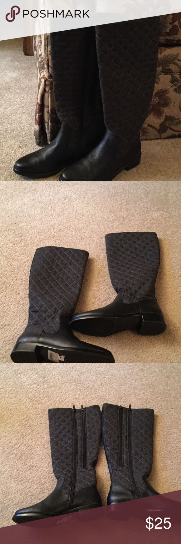 Aerosoles Boots NWT Fabric Upper, balance man made.  Quilted top.  2 zippers up the inside of boots.  One is for wide calf.  1 inch heels.  NWT. Black bottom with a grayish black top. AEROSOLES Shoes Winter & Rain Boots
