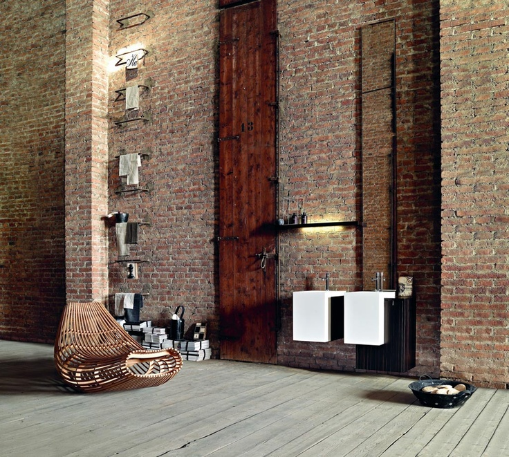 PIVOT 01 - Fronts countertop sides ebony. Washbasin semi-insert Prop 49 Milltek.  www.milldue.com