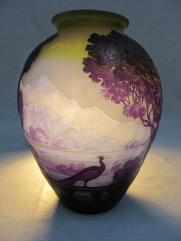 Emile Galle LAKE COMO glass vase - signed (HB) - Can you see this in your home?