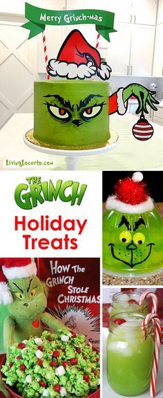 The BEST Grinch Christmas Treats for a Holiday Party! Adorable fun food recipe ideas for your next Holiday Christmas party. Grinch cakes, Grinch popcorn, Grinch cocktails and fun green Grinch themed school snacks.