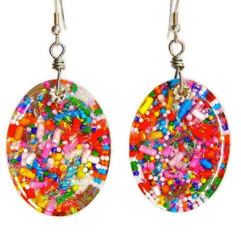 Candy resin earrings - cupcake sprinkle earrings - kawaii earrings -  candy jewelry by Sparkle City Jewelry. $30.00, via Etsy.