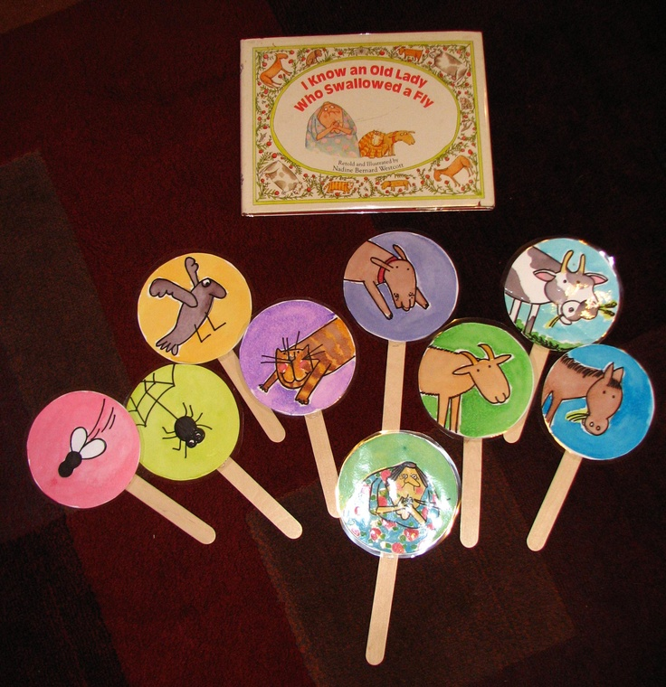 Stick puppets to go with I Know an Old Lady Who Swallowed a Fly