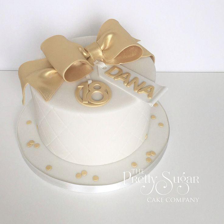 Gold bow 18th birthday cake