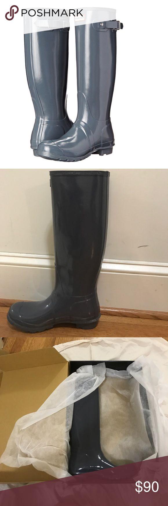 Graphite Gloss Tall Hunter Rain Boots! BRAND NEW!! Brand new authentic hunter rain boots. Great condition never worn Hunter Boots Shoes Winter & Rain Boots