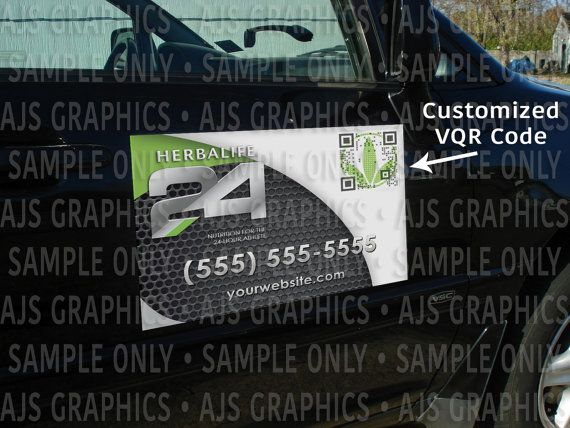 Herbalife 24 Custom Car Magnets with Visual QR  by AJSGraphDesign