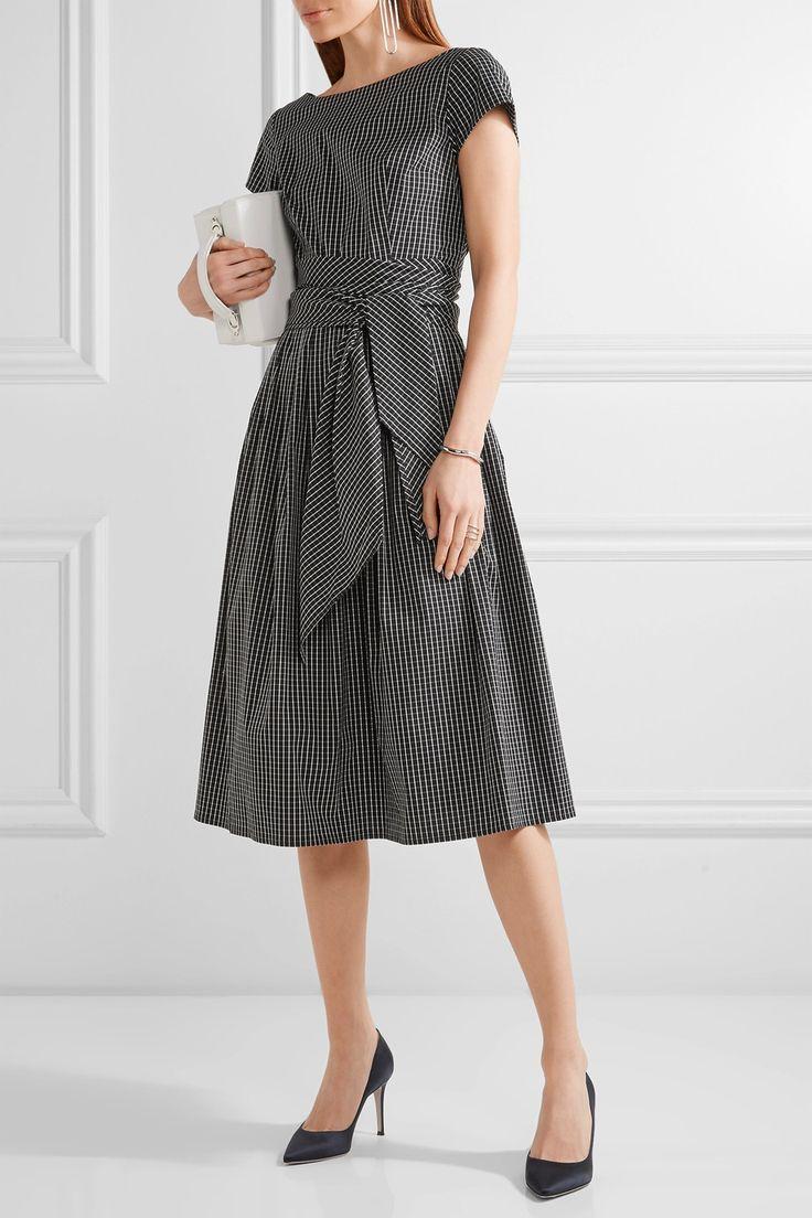Michael Kors Collection   Checked cotton-blend poplin midi dress   NET-A-PORTER.COM