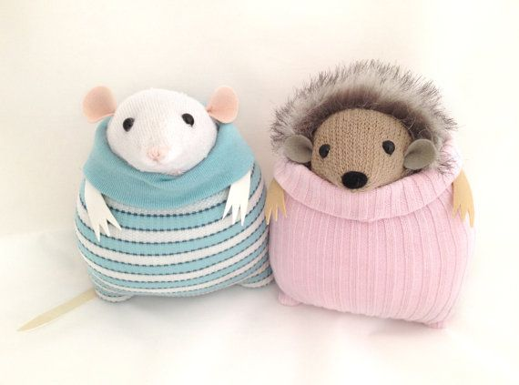 Little Sock Mouse 'Merril' baby blue white stripe by theRemakerie