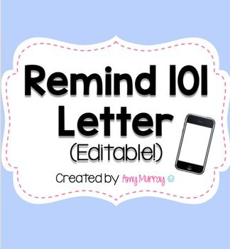 remind 101 parent letter editable