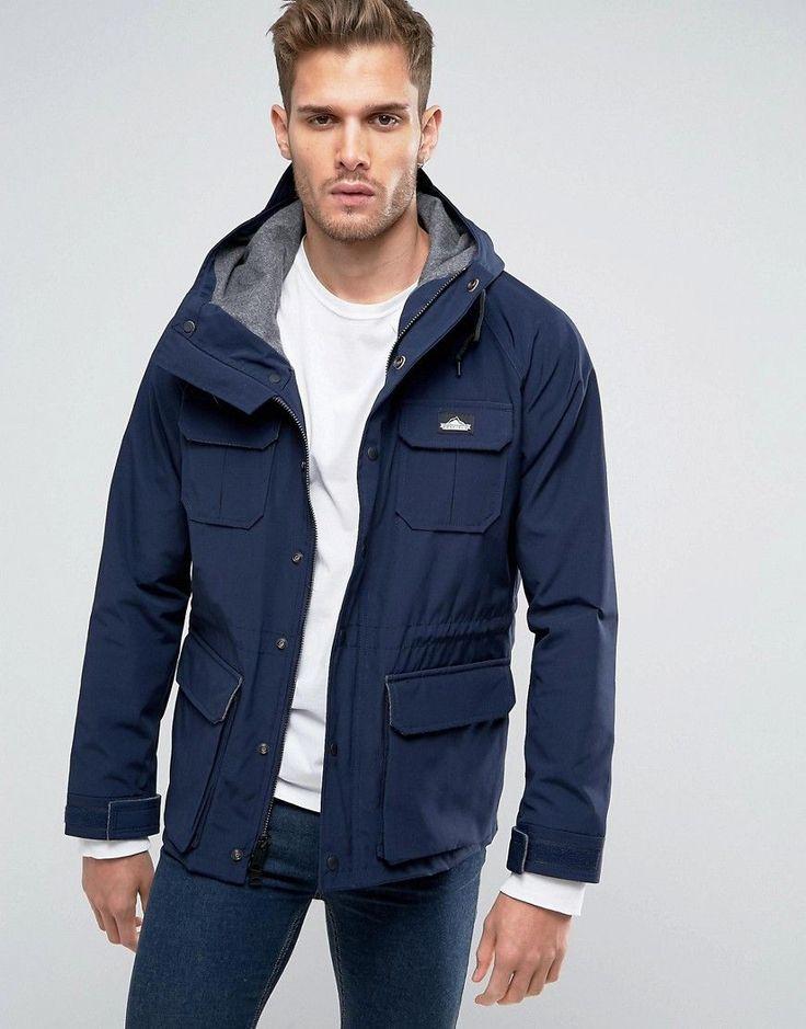 Penfield Kasson Parka Jacket Hooded Fleece Lined in Navy - Navy