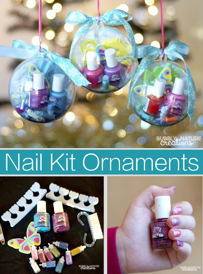 Nail Kit Ornaments hold nail polishes and other nail grooming items for girls! so cute! #ad #PamperedPiggies