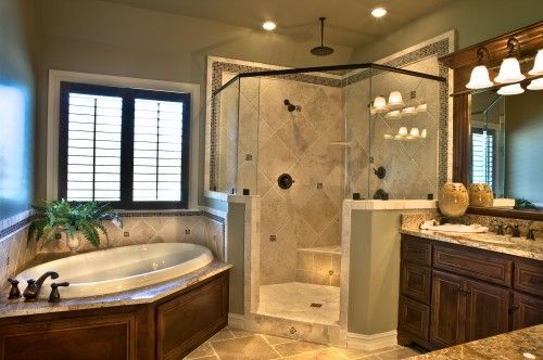 Bathroom.: Decor, Bathroom Design, Corner Showers, Dreams House, Dreams Bathroom, Master Bathrooms, Traditional Bathroom, Bathroom Ideas, Masterbathroom