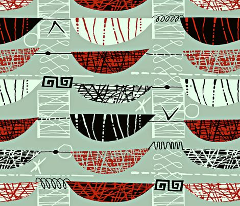 Mod Graphic Red fabric by chicca_besso on Spoonflower - custom fabric